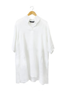 Yacco Maricard Linen Split Collar Dress