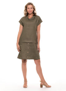 Yarra Trail Cowl Neck Linen Dress