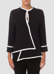 Fancy Button Contrast Trim Jacket