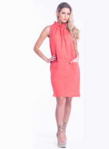 Bouton linen Ruched tie neck dress2