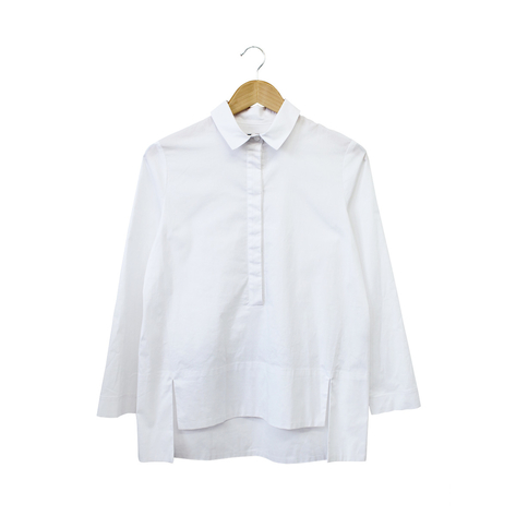 Stretch Poplin Step Hem Shirt