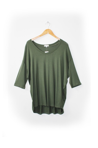 V-neck Long Line Box Tee