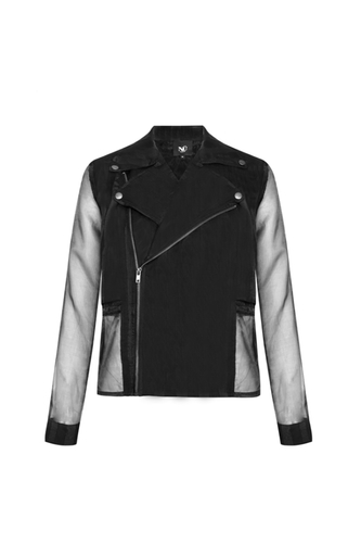 Jacket with sheer insets